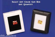 BLACK GLASS TOP GEM BOX WHITE SHOWCASE GEMSTONE BOX WHOLESALE GEM DISPLAY STAND