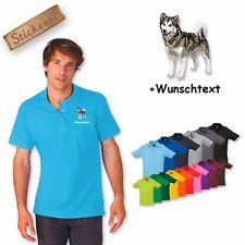 Algodón de camiseta Polo bordada Malamute Alaska + Texto personalizado