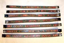 6 AZTEC DESIGN LEATHER PAINTED BRACELETS hippie mens women snap  wrist bracelet