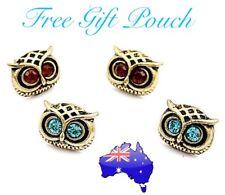 Vintage Antique Bronze Cute OWL Blue/ Brown Crystal Stud Pierced Earrings Gift