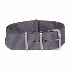 Vintage Nato Solid Grey 16 18mm 20mm 22mm 24mm Nylon Watch Strap Wristwatch Band