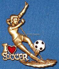 Signed DaneCraft I Love Soccer Fifa Sports Brooch 6684