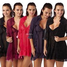 Ladies Chiffon Wrap & Babydoll Set Sizes 8-20 Nightwear Pyjama Gift