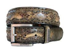 Nuevo Sendra Piel de Serpiente Pitón Cuero Cinturón de Hombre Marrón