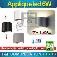 APPLIQUE PER ESTERNO LED DOPPIO LED LUCE OVALE TONDO ESTERNO METALLO 6W V-TAC