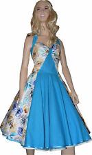 50er Jahre Kleid Petticoat türkis  Rosen Blumen Vintage Abiball Retro
