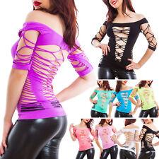 Suéter mujer top elástica parcelas ajustado rasgado sexy clubwear YT9559