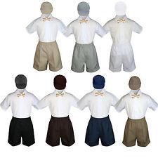 4pc Boy Toddler Formal Champagne Bow Tie Hat Shorts  Navy Gray Dark Khaki S-4T