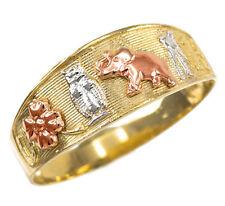 14k Multi-tone Gold Lucky Owl, Elephant, Horseshoe, Thirteen, and Flower Ring
