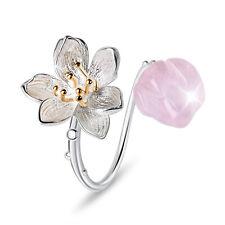 Natural Rose Quartz Gemstone Solid 925 Sterling Silver Flower Ring for Women