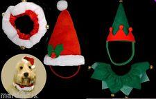 2PC DOGGY HAT+COLLAR SANTA ELF DOG CAT PUPPY CHRISTMAS DRESS UP PET HATS XMAS