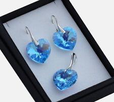 925 pendientes de plata/Set hecha con cristales de Swarovski * Aguamarina AB * 18mm Corazón