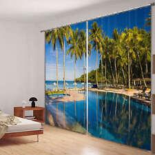 Beach Seaview Resort Tre 3D Blockout Photo Printing Curtains Draps Fabric Window