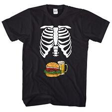 Skeleton Body Burger & Beer Belly T-Shirt Funny Mens Halloween Shirt Joke L327
