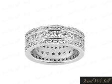 Natural 2.25Ct Round Diamond 3Row Eternity Band Wedding Ring 950 Platinum F Vs2