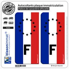 2 Autocollants plaque immatriculation : F Drapeau Vertical Identifiant Européen