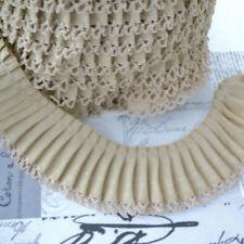 Bordo A Pieghe Picot Bordature - Beige - Tessuto Di Cotone