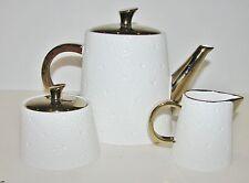3 PC BALVERY WHITE+GOLD HAMMERED DESIGN CERAMIC TEA COFFE POT,CREAMER,SUGAR