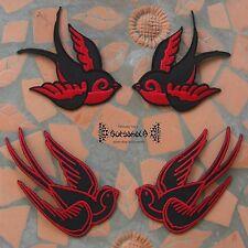 AUFNÄHER PATCH Punk schwalbe swallow Schwarz Rot Rockabilly red black pin up