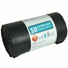 50 Heavy Duty Black Bin Bags Dustbin Liners 75 Litre Size Refuse Sacks Homeware