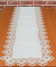 Long lace rectangular white cream table runner victorian style wedding decor
