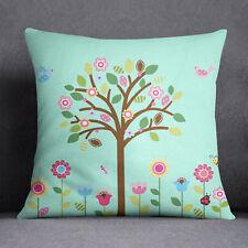 S4Sassy Aqua Blue Square Cushion Cover Tree Printed Decorative Pillow Case