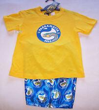 Parramatta Eels NRL Boys Yellow Blue Printed Cotton Satin Pyjama Set Size 16 New