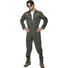 80S Top Gun Flight Aviator Pilot Suit Uniform Adults Mens Fancy Dress Costume