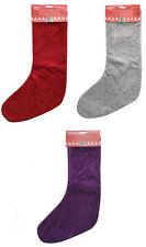 Luxury Embossed Christmas Stocking Xmas Sack Santa Kids Gift