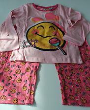 Neu Pyjama Set Schlafanzug Nachtzeug Mädchen Smiley rosa Gr. 116 128 140 152 #40