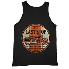Last Stop Motorcycle Repair Tank Motorcycle American Garage Road Tanktop Black