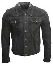 Hombre Camionero Informal Negro CABRA DE ANTE Camisa Jeans Chaqueta