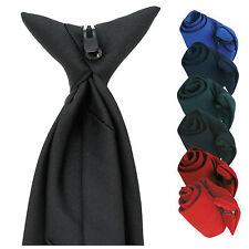 Mens Plain Clip On Tie Security Doorman Bouncer Funeral Wedding Formal 6 Colours