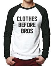 Clothes Before Bros Men Baseball Top - Fashion Slogan Tee