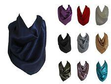 Elegant Solid Colors Silk Satin Scarf Bandana Neck Square Head Wrap