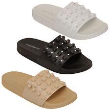 Donna Slip On Mule Sandali Donna CURSORI Pantofole Diamante Piatto Spiaggia Estate