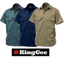 KING GEE  -  MENS OPEN FRONT SHORT SLEEVE DRILL WORK SHIRT - K04030