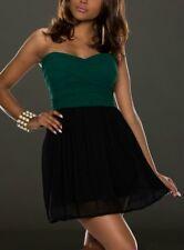 Miss Sexy Donna Mini Abito Chiffon Girly DRESS S 34 M 36 L 38 NERO D VERDE NUOVO