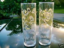 "BACARDI LIMON  RUM GLASS  7"" TALL SET OF 2  LEMON DESIGN MARTINI LEMON (reduced)"