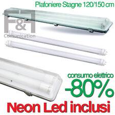 PLAFONIERA STAGNA INCLUSI NEON LED TUBO T8 60-120-150 CM 220V SOFFITTO IP65 TOP