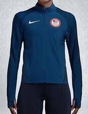 Womens XS S M L NIKE USA Flex Team Olympic L/S Blue Reflective Train Run Jacket