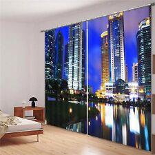 Modern City Night Skyline 3D Blockout Photo Curtain Print Curtains Fabric Window