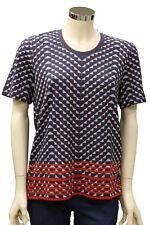 T-Shirt da donna fantasia blu Good Match Sport girocollo manica corta casual