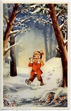 Bambino suona Flauto Bosco Neve Buon Natale Children Xmas PC Circa 1930 Italy