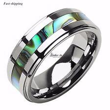8Mm Tungsten Stunning jade&Abalone Stripe Inlaid Wedding Band Ring Mens jewelry