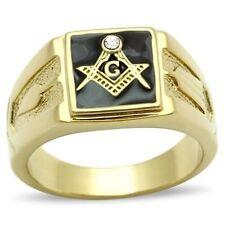 Stainless Steel Gold IP Mason Freemason Master Masonic Lodge Square Black Ring