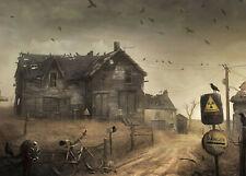 10x8ft Horror Halloween Haunted House Crow Photography Background Vinyl Backdrop