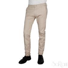 Pantalones De Hombre Beige Color Liso Bolsillo América Casual Algodón SARANI
