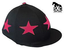 2f25c2ada77 CUSTOM PRINTED RIDING HAT SILK COVER BLACK   CERISE HOT PINK WITH STARS  POMPOM