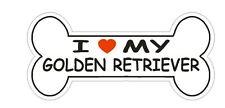 Love My Golden Retriever Bumper Sticker or Helmet Sticker D2374 Dog Bone